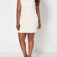 Plus Lucky Lace High Neck Dress