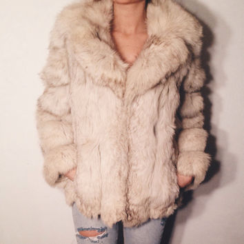 SALE - Vintage 1970s 1980s Blue Arctic Fox Fur Coat Size XS to S Excellent Condition