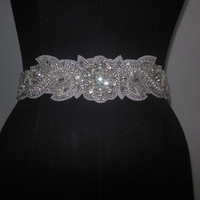 Bridal Wedding Dress Rhinestone Beaded Crystal Embellished Belt Sash/ Beaded Sash/ Wedding Dress Sash/ Crystal Sash/ Bridal sash/Pearl sash