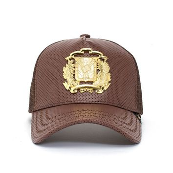 Trucker Hat - Dr Shield Leather Brown/Gold