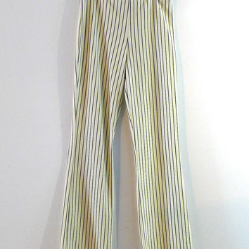 Vintage 1980s cream and black pinstripe flared trousers sz AUS10/US 6