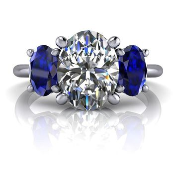 Three Stone Ring Sapphire Ring - Celestial Premier Moissanite - Customize Your Ring