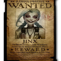 League Of Legend Jinx Wanted Ipad Case, Available For Ipad 2, Ipad 3, Ipad 4 , Ipad Mini And Ipad Air