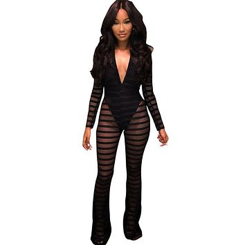 703ae7a8d5f New Sexy Striped Sheer Mesh Jumpsuit with Lining Women Long Sleeves Deep V-  Neck Wide