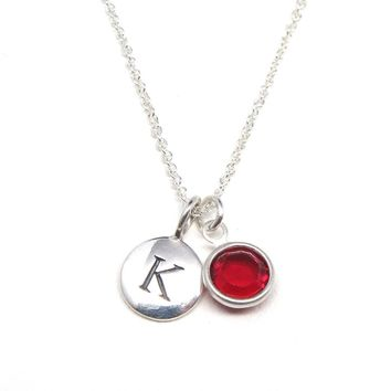 Silver Initial & Birthstone Charm Necklace