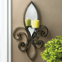 Fleur-De-Lis Mirrored Candle Wall Sconce