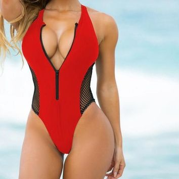 Zipper Front Red Swimsuit 1 piece