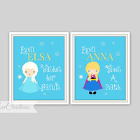 "Frozen Bathroom Prints - Set of 2 Prints - ""Even Elsa Washes her Hands"" Bathroom Decor, Princess Bathroom, Kids Bathroom"