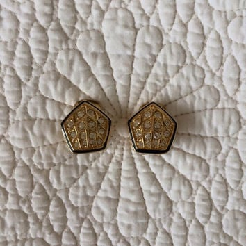 1970's Vendome Earrings / Rhinestone Enamel Gold Tone / 70s does 20s / Clip On / Vintage Jewelry / 70s Vintage