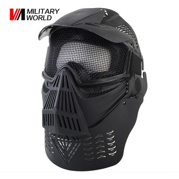 Tactical Military Shooting Hunting Full Face Mask Guard With Mesh Goggles Outdoor Survival Airsoft Paintball Mask Equipment