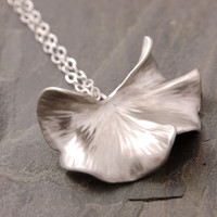 Ginko Leaf Necklace - silver leaf necklace, ginko leaf pendant, nature jewelry, holiday sale