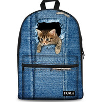 Denim Cat Back Pack
