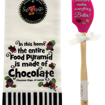Chocolate Makes Everything Better Silicone Pink Spatula Food Pyramid Dish Towel