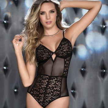 Sheer Lace And Mesh Teddy