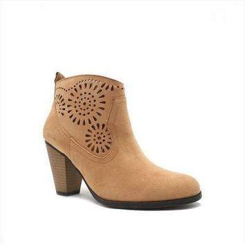 Tread with Me Mandala Cut Out Suede Booties Boots - Toffee