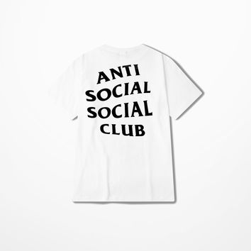 Unisex White Letter printed anti social social club T Shirt