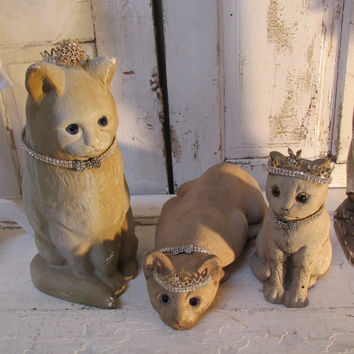 Cat statue grouping glass eyes shabby chic vintage cast stone figures handmade rhinestone crowns and collars home decor anita spero
