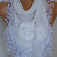 White Cotton Floral Scarf Spring Summer Scarf Cowl Lace Shawl Bridesmaid Bridal Accessories Gift Ideas For Her Women Fashion Accessories