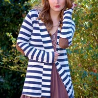 Stripe Down Cardigan in Charcoal