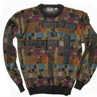 Shop Now! Ugly Sweaters: Leather Patches Vintage 80s Cosby Style Tacky Ugly Sweater Men's Tall Size XL Tall (XLT) $25 - The Ugly Sweater Shop