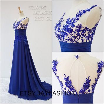 Royal Blue Prom Dresses Long A-line Women Formal Evening Bridesmaid Gorgeous Corset Ladies Cheap  dress 2015 New fashion party dresses