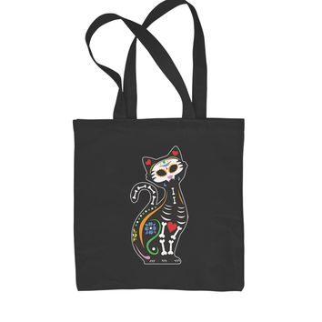 Skeleton Cat Day Of The Dead Shopping Tote Bag