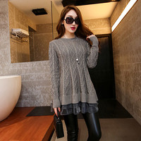 Solid Color Mesh Knit Sweater Dress