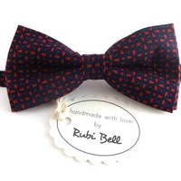 Bow Tie - wedding bow tie - blue bow tie with red geometrical pattern - man bow tie - men bow tie