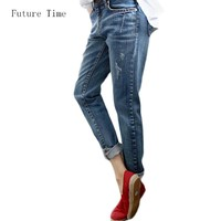 Boyfriend Jeans For Women 2017 Hot Sale Vintage Distressed Regular Spandex Ripped Jeans Denim washed Pants Woman Jeans C1028