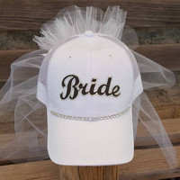 Bride Baseball Cap, Custom Bride hats made in your theme colors or favorite baseball team perfect for a baseball bachelorette party!