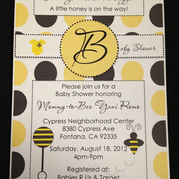 25 Bumble Bee Polka Dot Baby Shower Bee & Rattle Invitation