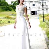 Graceful A-line Off the Shoulder Floor-length Chiffon Homecoming Dresses - LoveSeason.com