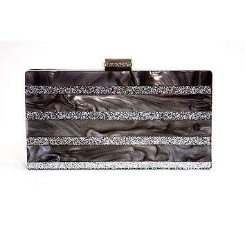 Marble Silver Stripe Box Clutch