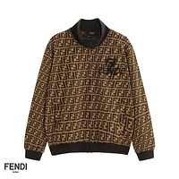 FENDI fashion embroidery LOGO print zipper lovers casual suit