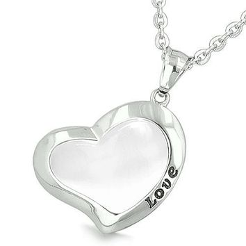 Lucky Heart Eternity Charm Love Inspiration Powers Amulet White Cats Eye Good Luck Pendant Necklace
