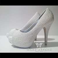 Bridal Off white pearl peep toes 3mm pearl heels by MDNY