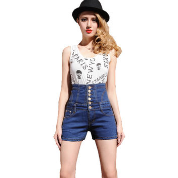Women's extra high waist buttons large size shorts Casual slim skinny stretch denim jeans