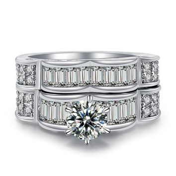 2pcs/lot Engagement Stainless Steel AAA CZ Zircon Ring