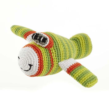 Green Airplane Fair Trade Knitted Baby Rattle