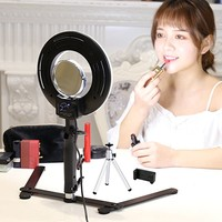 "Table Top Photo LED Selfie Ring Light with Desktop Stand for Makeup 8-inch Dimmable 24W 5500K O Circular Beauty Lamp+3"" Mirror+Mini Tripod+Phone Clamp,for YouTube Vine Self-Portrait Video Filming"