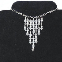 Waterfall Drop Necklace with Czech Glass Crystals and Silver Stardust Beads, Bib Necklace, Plus Size, Rondelle Beads, Burlesque Style