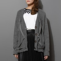 Boxy Grey Cardigan with Crossing Bars