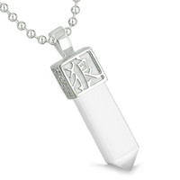 Amulet Reversible Wolf Paw Kanji Magic White Cats Eye Crystal Point Pendant 18 Inch Necklace