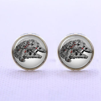 Star Wars  Millenium Falcon   Cufflinks  -Mens Silver Plated Cufflinks,Accessoires for Man-Mens Gift ,Gift for Daddy ,Best Man