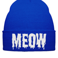 meow embroidery hat - Beanie Cuffed Knit Cap
