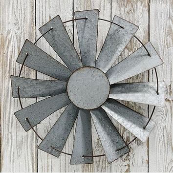 "Farmhouse Galvanized Windmill Wall Hanging 14"" diameter"