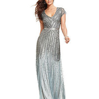 Adrianna Papell Dress, Cap-Sleeve Beaded Sequined Gown - Women - Macy's