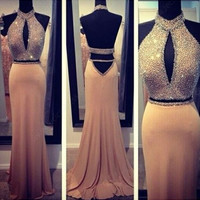 two pieces Prom Dress,long Prom Dress,halter Prom Dress,backless prom dress,party dress,PD104