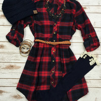 3/4 Plaid Belted Dress