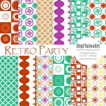 "Geometric digital paper ""Retro Party"" digital clip art papers in purple, green, terracotta, patterns, download, retro background"